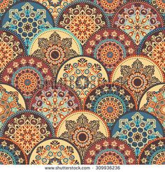 Seamless abstract pattern of trendy  colored abstract floral circles. Can be used for wallpaper, surface textures, textile etc. Summer-Autumn Design