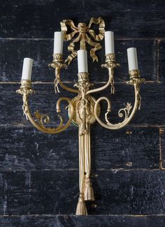 Pair of Large Neoclassical Adams Style Brass Sconces