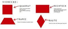 Die geometrischen Formen der Spielgaben im Überblick: Quadrat, Rechteck, Trapez, Raute