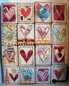 inspiration to create a crazy heart quilt! I Love Heart, Crazy Heart, Atc Cards, Heart Crafts, Artist Trading Cards, Heart Art, Heart Collage, Art Plastique, Fabric Art