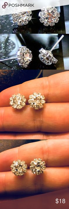 """CZ Studs Round """"Sunflower"""" Clear CZ Studs. 1.1 cm in diameter. These earring have a whole lotta sparkle. Jewelry Earrings"""