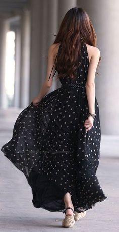 Polka Dots Maxi Dress  Would be a lovely bridesmaid dress for a Polka Dot Themed Wedding.  Keywords:  #polkadotbridesmaiddress #polkadotweddinginspiration #jevelweddingplanning Follow Us: www.jevelweddingplanning.com  www.facebook.com/jevelweddingplanning/