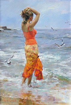 Pintura mulher na praia...