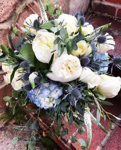 """We took care of this bride's """"something blue"""" for her wedding! Bride- Bridal Bouquet- Something Blue- White and Blue Wedding- White and Blue Flowers- Hydrangea- Peonies- Thistle- Eucalyptus- Roses- Wedding Flowers- Knoxville Wedding- Wedding Ideas- Wedding Florist- Knoxville Florist- Bride Flowers- Wedding Bouquet- Always in Bloom- Knoxville, TN"""