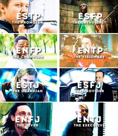 Avengers personality types, Part 1 - The Extroverts