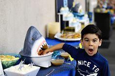 Project Nursery - throw a fin-tastic shark birthday party! 4th Birthday Party For Boys, Shark Birthday Cakes, Shark Birthday Ideas, Summer Birthday, Mermaid Birthday, Shark Cake Pops, Pool Party Decorations, Shark Party, Project Nursery