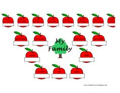 With this printable family tree, kids fill in family members' names on colorful apples, all the way up to the great-grandparent level (four generations). Great for school use in classroom genealogy units. Free to download and print