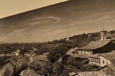 Panorâmica em Diamantina, no detalhe, representada em fotos das décadas de 40 e 50. Exposição, Palácio das Artes, BH, MG, Brasil.