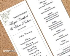 Wedding Program Template - Scroll Corners, Smoke - DIY Editable Word Template, Instant Download, Printable, Edit your text & Print at Home