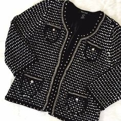 "WHBM Bouclé Jacket Are power jackets still a thing? Because if so, lean in to this classic! Excellent condition, shows only gentle wear. Bust: 18"", Length 23"" shoulder to hem. Shown on a 6-8 dress form. Cropped sleeves, 19 1/2"" shoulder to cuff. White House Black Market Jackets & Coats"