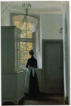 Reverie at the Window - Georg Nicolaj Achen , 1903 Danish, 1860 - 1912 Dramatic Lighting, Window Art, Oeuvre D'art, Female Art, Painting & Drawing, Art Photography, Illustration Art, Art Gallery, Windows