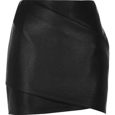 River Island Black leather-look wrap mini skirt (€29) ❤ liked on Polyvore featuring skirts, mini skirts, women, black, short skirts, river island, faux leather skirt, tall skirts and short mini skirts