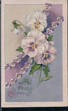 Antique Postcard John Winsch Purple Pansies Embossed Gilded Eastertide Lovely | eBay
