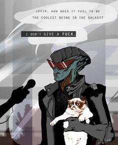 Fanart bioware mass effect mass effect 3 Javik Prothean grumpy cat Mass Effect…
