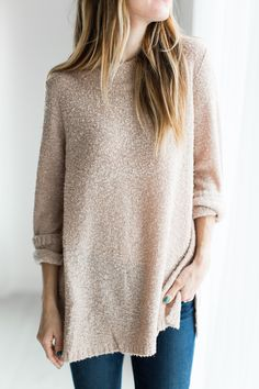Blush is basically the best color there is right now. And this sweater is the softest way to rock it! (it might look itchy but, I'm here to tell you.. it's not!) See Sierra's sizing HERE, she is weari