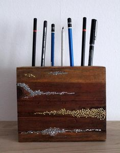 DIY Wood Crafts: DIY: Embellished Wood Pencil Block
