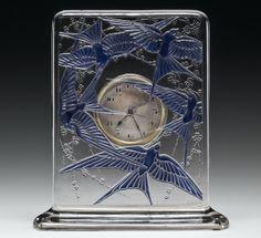 Cinq Hirondelles (Five Swallows) clock by René Lalique, designed 1920 Antique Watches, Antique Clocks, Vintage Clocks, Chandeliers, Corning Museum Of Glass, Art Nouveau Tiles, French Art, Designs To Draw, Design Art