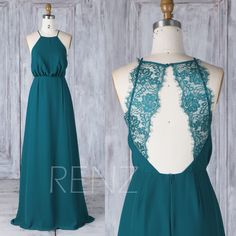 Bridesmaid Dress Forest Green Halter Straps Chiffon Wedding Dress,Illusion Lace Open Back Long Prom Dress,A line Loose Dress (L341) by RenzRags on Etsy https://www.etsy.com/listing/526891298/bridesmaid-dress-forest-green-halter