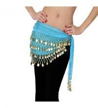 Pañuelo Danza árabe azul con monedas. Ideal para la Danza del vientre o Zíngara.