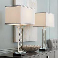 Reflections Metal Table Lamp Set of 2 - Metal Table Lamps, Wood Lamps, Table Lamp Sets, Linen Lamp Shades, Room Design Bedroom, Master Bedroom, Bedroom Decor, Large Lamps, Bedroom Night Stands