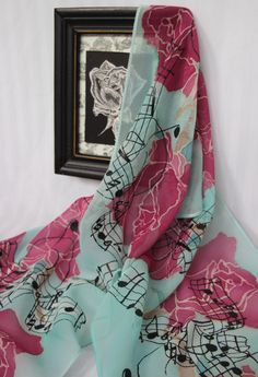 chiffon silk scarf with rose and music notes in magenta and sea green
