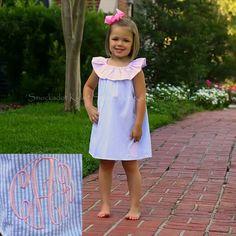 6/20/2013   Light Blue & Pink Seersucker Flutter Dress