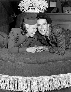 Lana Turner and James Stewart laughing it up on the set of Ziegfeld Girl, 1941.