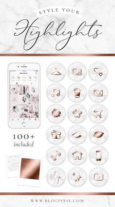 Discover recipes, home ideas, style inspiration and other ideas to try. Instagram White, Free Instagram, Instagram Story Ideas, Rose Gold Marble, Instagram Highlight Icons, Story Highlights, Planner, Icon Set, Pixie