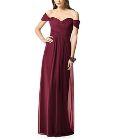DescriptionDessy Collection 2844Full length bridesmaid dressOff the shoulder sweetheart necklineCrisscross ruched bodiceShirred skirtLux chiffon
