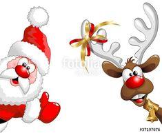 Вектор: северный олень и Санта-Клаус-ок Смешной Санта-Клаус и олени