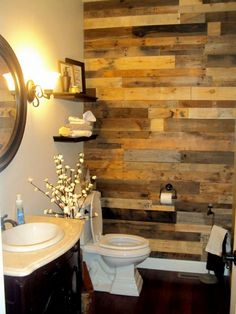 Accent Wall Out Of Wood Pallets                                                                                                                                                     More