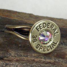 Bullet Ring - Winchester 38 SPL -  AB Crystal. $18.99, via Etsy.