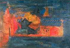 John Piper, Sheffield Suburb, c. oil on canvas, x 152 cm. City Landscape, Abstract Landscape, Urban Landscape, John Piper Artist, Museum Art Gallery, Virtual Art, Art Uk, Your Paintings, Oil On Canvas