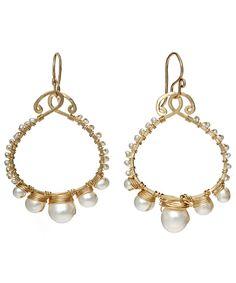 Calico Juno Ivory Pearl Hoop Earrings