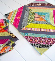 """String Quilts... love the idea of using up similiar color scraps and tieing them together in one quilt with the addition of one color """"stringing"""" through the quilt."""