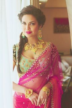Esha Gupta in B'ful Saree, Jewelry | Bollywood Fashion tumblr | #IndianFashion Scrapbook