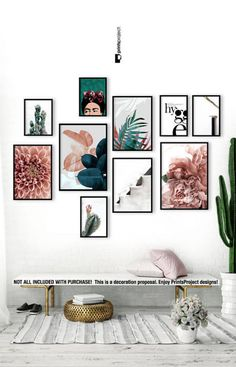 Blush Pink Leaves, Above Bed Wall Art, Wedding Gift, Blue Plant Print, Botanical Poster, Tropical Leaf, Digital Print Download Printable Art #printable #blush #decor #abovebed #bedroom #ad