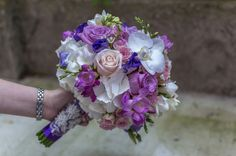 Buchet mireasa hortensie roz mov alb