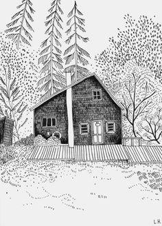 Illustration house - black & white