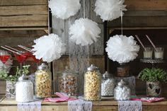 White Paper Pom Poms x 5...... But who will hang it? Lots of dec ideas but who will be able to do....