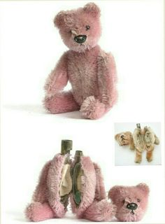 """""""1920's Vintage Schuco Compact Perfume Bottle Bear""""  Created in 1927, these snuggly guys roamed the streets in various handbags. Don't let their cuteness fool you, these bears are a deadly weapon in makeupstry that came equipped with moving arms, legs, and a detachable head that reveals a cut glass perfume bottle. (For example: the one in the photo.) If you open the soft torso gently, these little guys contained either a mirror, compact, lipstick and powder puff, a pefume bottle or manicure…"""