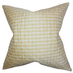 """Create a timeless appeal to your interiors with this lovely accent pillow. This throw pillow features a classic plaid pattern in shades of yellow and white. This indoor pillow adds texture and dimension to your sofa, bed or chair. Constructed with 100% high-quality silk material, this 18"""" pillow is easy to pair with other home accessories. $55.00 #homedecor #tosspillow #pillows #interiorstyling #plaid #yellow"""