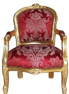 Sillón Francés Luis Crema Borgoña Rojo Damasco Silla De Estilo Antiguo Shabby Chic
