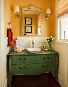 Vintage furniture always gives a room a certain unique flair. A vintage vanity would make your bathroom feel more inviting, cozy and intimate and it would also feel like a part of the home instead of being just a cold small space. This vanity, for example, also has a very nice color and a unique finish.