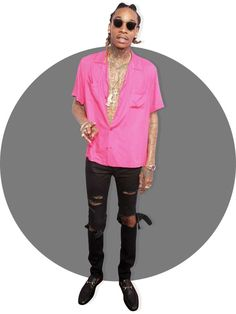 The 64 Most Stylish Men of 2016:      Wiz Khalifa:   Wiz is a master of the day‐to‐night transition. He oozes Hugh Hefner swagger when he dresses up, and Joey Ramone effortlessness when he hits the stage. Check our retrospective if you need further proof.