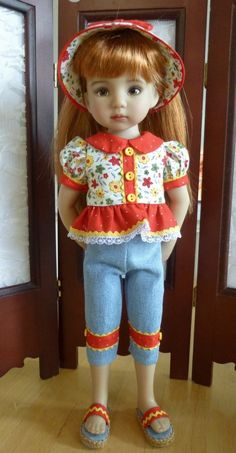 "Capri Set Outfit Effner 13"" Little Darling Doll by Apple. SOLD 6/5/15 for $34.95"