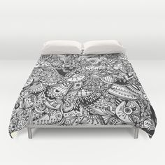 Black+and+white+zentangle+inspired+art,+Detailed+rectangle,+b&w+doodle+Duvet+Cover+by+/CAM+-+$99.00