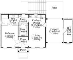 Plano de casa con 1 dormitorio y garage abierto - Planos de Casas Gratis