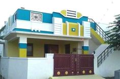 Independent house... Simple House Exterior Design, House Front Wall Design, House Outer Design, Single Floor House Design, Wooden Front Door Design, House Outside Design, Door Gate Design, Independent House, Front Elevation Designs