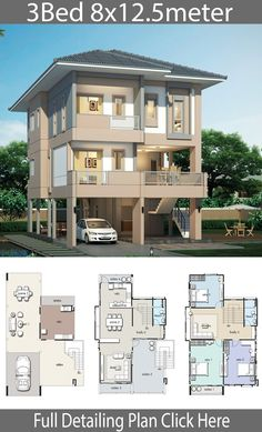 House design plan with 3 bedrooms – Home Design with Plansearch Haus Design Plan mit 3 Schlafzimmern – Home Design with Plansearch 3 Storey House Design, Two Story House Design, House Front Design, Small House Design, Modern House Design, Modern House Floor Plans, Sims House Plans, House Layout Plans, Dream House Plans